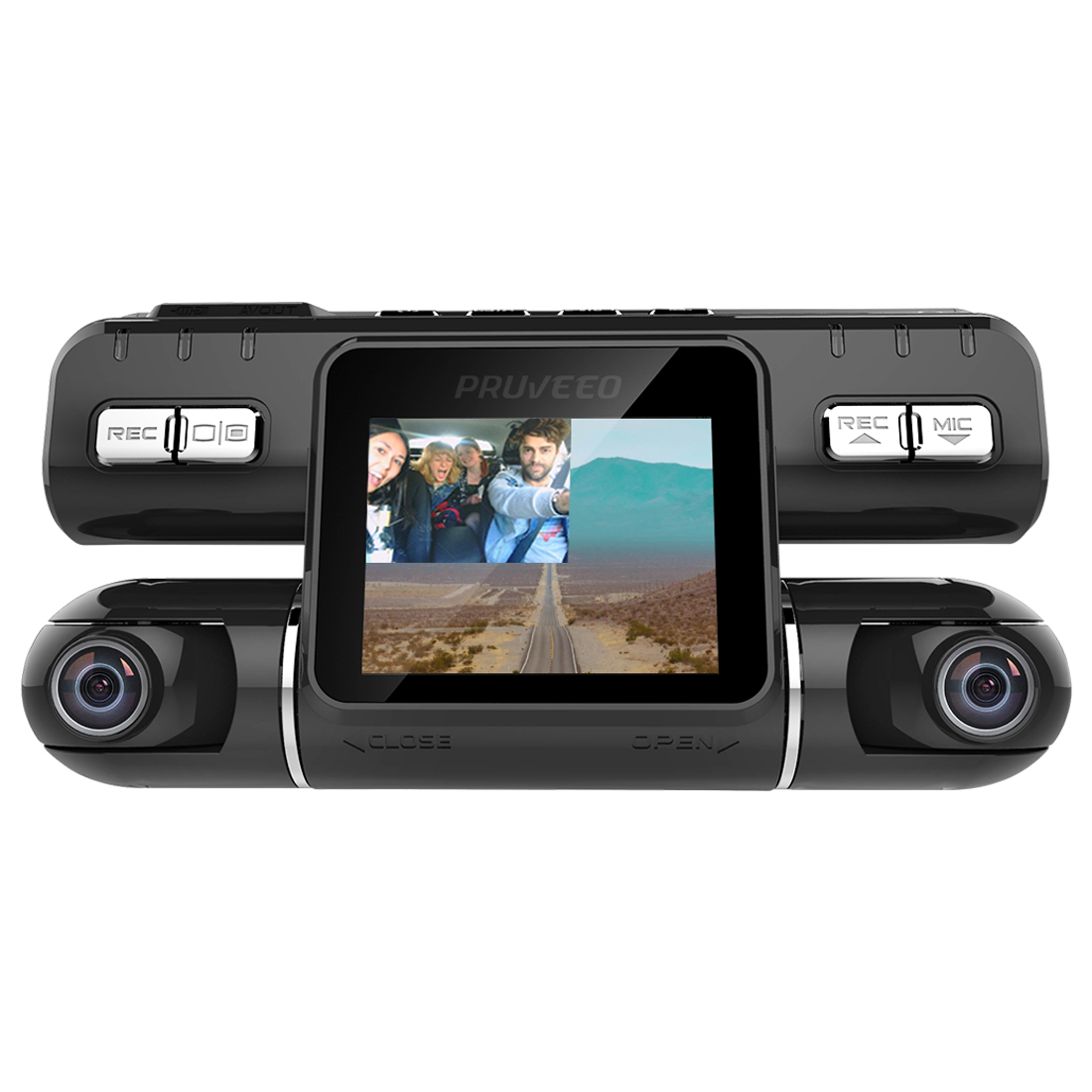 pruveeo mx2 dash cam front and rear dual camera for cars. Black Bedroom Furniture Sets. Home Design Ideas